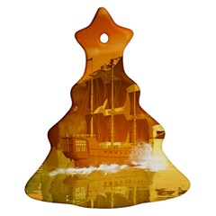 Awesome Sunset Over The Ocean With Ship Christmas Tree Ornament (2 Sides)