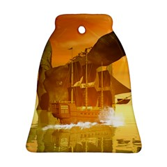 Awesome Sunset Over The Ocean With Ship Bell Ornament (2 Sides)