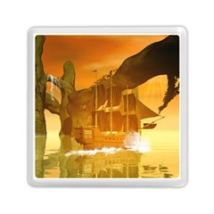Awesome Sunset Over The Ocean With Ship Memory Card Reader (Square)