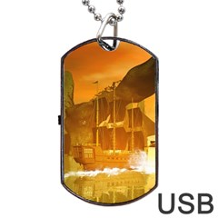 Awesome Sunset Over The Ocean With Ship Dog Tag Usb Flash (two Sides)