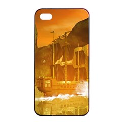 Awesome Sunset Over The Ocean With Ship Apple Iphone 4/4s Seamless Case (black)