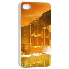 Awesome Sunset Over The Ocean With Ship Apple iPhone 4/4s Seamless Case (White)