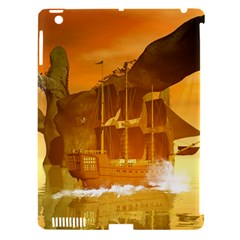 Awesome Sunset Over The Ocean With Ship Apple iPad 3/4 Hardshell Case (Compatible with Smart Cover)