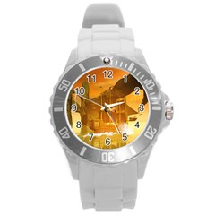 Awesome Sunset Over The Ocean With Ship Round Plastic Sport Watch (L)