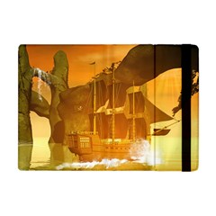 Awesome Sunset Over The Ocean With Ship Apple iPad Mini Flip Case