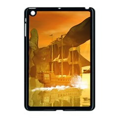 Awesome Sunset Over The Ocean With Ship Apple iPad Mini Case (Black)
