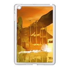 Awesome Sunset Over The Ocean With Ship Apple iPad Mini Case (White)