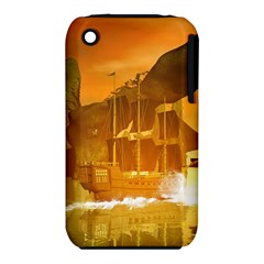 Awesome Sunset Over The Ocean With Ship Apple iPhone 3G/3GS Hardshell Case (PC+Silicone)