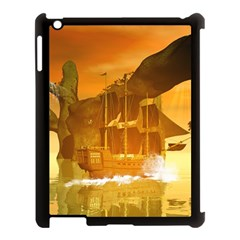 Awesome Sunset Over The Ocean With Ship Apple iPad 3/4 Case (Black)