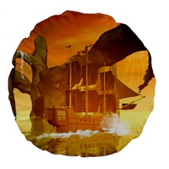 Awesome Sunset Over The Ocean With Ship Large 18  Premium Round Cushions