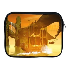 Awesome Sunset Over The Ocean With Ship Apple iPad 2/3/4 Zipper Cases