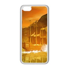 Awesome Sunset Over The Ocean With Ship Apple iPhone 5C Seamless Case (White)
