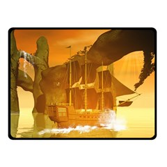 Awesome Sunset Over The Ocean With Ship Double Sided Fleece Blanket (Small)