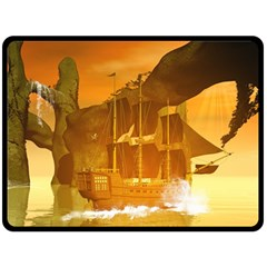 Awesome Sunset Over The Ocean With Ship Double Sided Fleece Blanket (Large)
