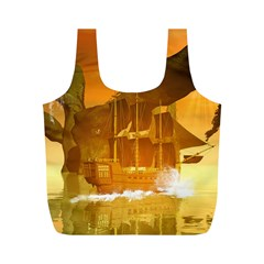 Awesome Sunset Over The Ocean With Ship Full Print Recycle Bags (M)