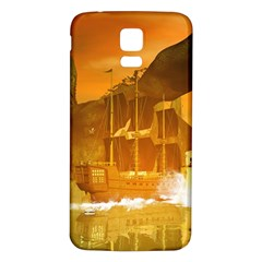 Awesome Sunset Over The Ocean With Ship Samsung Galaxy S5 Back Case (White)