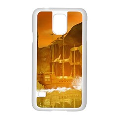 Awesome Sunset Over The Ocean With Ship Samsung Galaxy S5 Case (white)
