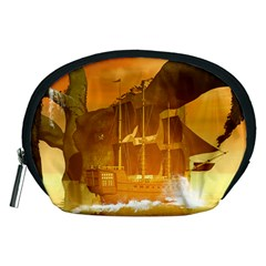 Awesome Sunset Over The Ocean With Ship Accessory Pouches (Medium)