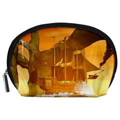 Awesome Sunset Over The Ocean With Ship Accessory Pouches (Large)
