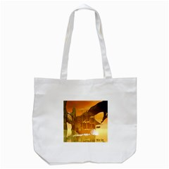 Awesome Sunset Over The Ocean With Ship Tote Bag (White)