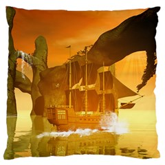 Awesome Sunset Over The Ocean With Ship Large Flano Cushion Cases (Two Sides)