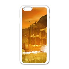 Awesome Sunset Over The Ocean With Ship Apple iPhone 6/6S White Enamel Case