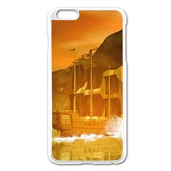 Awesome Sunset Over The Ocean With Ship Apple iPhone 6 Plus/6S Plus Enamel White Case