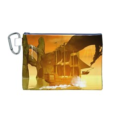 Awesome Sunset Over The Ocean With Ship Canvas Cosmetic Bag (m)