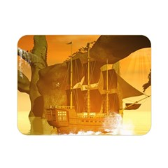 Awesome Sunset Over The Ocean With Ship Double Sided Flano Blanket (mini)