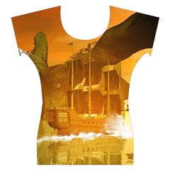 Awesome Sunset Over The Ocean With Ship Women s Cap Sleeve Top