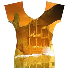 Awesome Sunset Over The Ocean With Ship Women s V-Neck Cap Sleeve Top