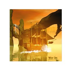 Awesome Sunset Over The Ocean With Ship Small Satin Scarf (Square)