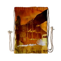 Awesome Sunset Over The Ocean With Ship Drawstring Bag (Small)