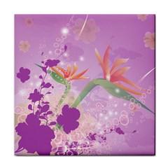 Wonderful Flowers On Soft Purple Background Tile Coasters