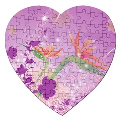 Wonderful Flowers On Soft Purple Background Jigsaw Puzzle (Heart)