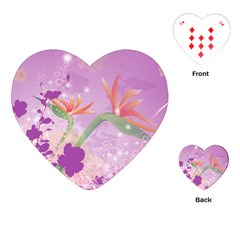 Wonderful Flowers On Soft Purple Background Playing Cards (heart)