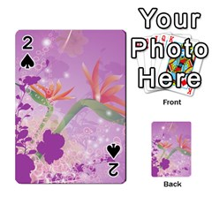 Wonderful Flowers On Soft Purple Background Playing Cards 54 Designs