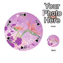 Wonderful Flowers On Soft Purple Background Playing Cards 54 (Round)