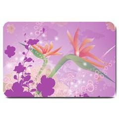 Wonderful Flowers On Soft Purple Background Large Doormat