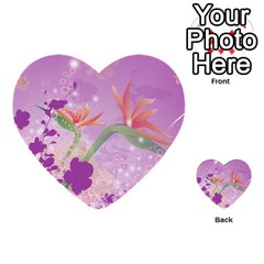 Wonderful Flowers On Soft Purple Background Multi-purpose Cards (Heart)
