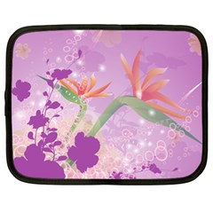 Wonderful Flowers On Soft Purple Background Netbook Case (XL)
