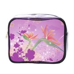 Wonderful Flowers On Soft Purple Background Mini Toiletries Bags