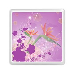 Wonderful Flowers On Soft Purple Background Memory Card Reader (square)