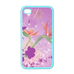 Wonderful Flowers On Soft Purple Background Apple iPhone 4 Case (Color)
