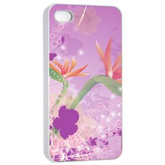 Wonderful Flowers On Soft Purple Background Apple iPhone 4/4s Seamless Case (White)
