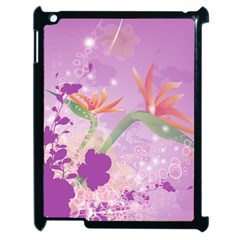 Wonderful Flowers On Soft Purple Background Apple iPad 2 Case (Black)