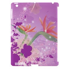 Wonderful Flowers On Soft Purple Background Apple iPad 3/4 Hardshell Case (Compatible with Smart Cover)
