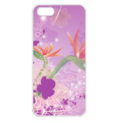 Wonderful Flowers On Soft Purple Background Apple iPhone 5 Seamless Case (White)