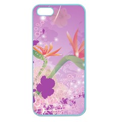 Wonderful Flowers On Soft Purple Background Apple Seamless iPhone 5 Case (Color)