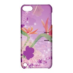 Wonderful Flowers On Soft Purple Background Apple iPod Touch 5 Hardshell Case with Stand